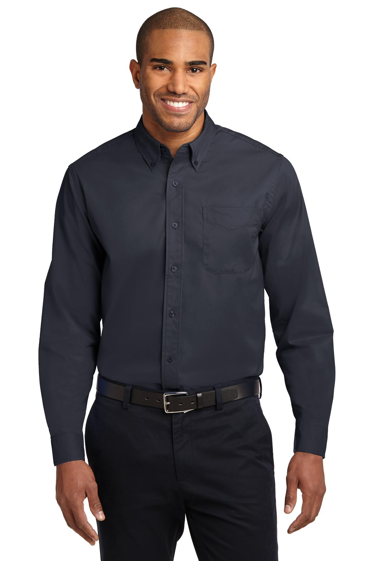 Classic Navy / Light Stone Port Authority Long Sleeve Easy Care Shirt.