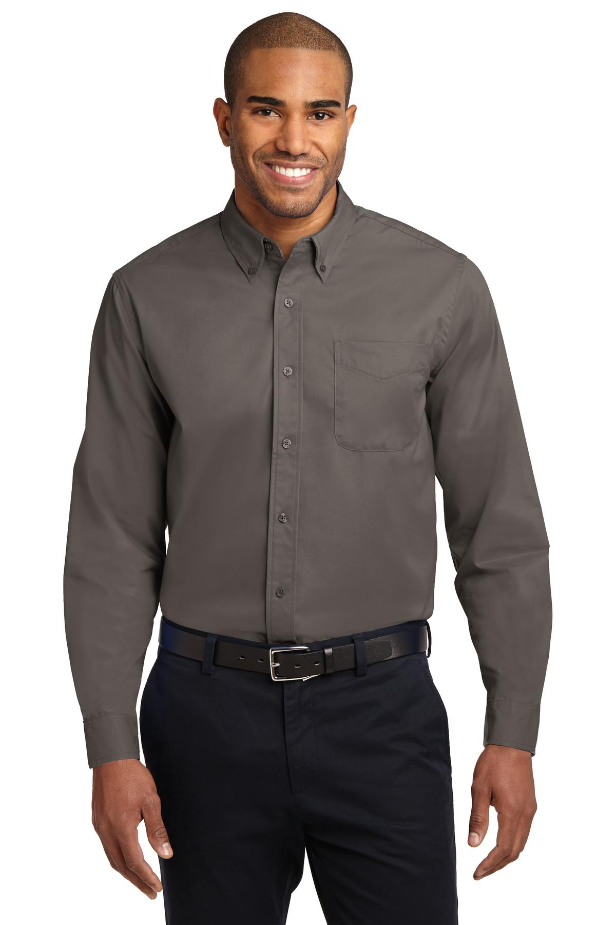 Cool Grey Port Authority Tall Silk Touch Polo.