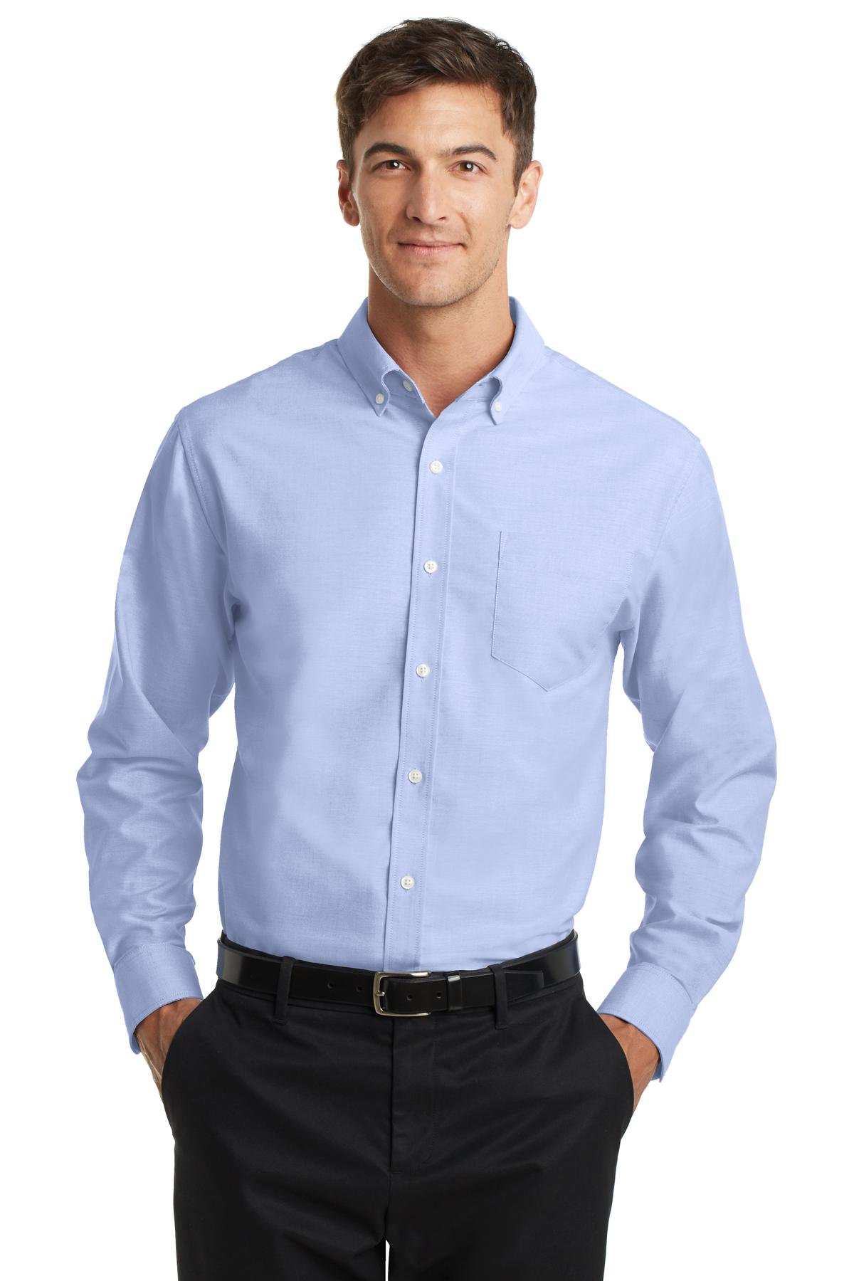 Cool Grey Port Authority Tall Silk Touch Long Sleeve Polo.