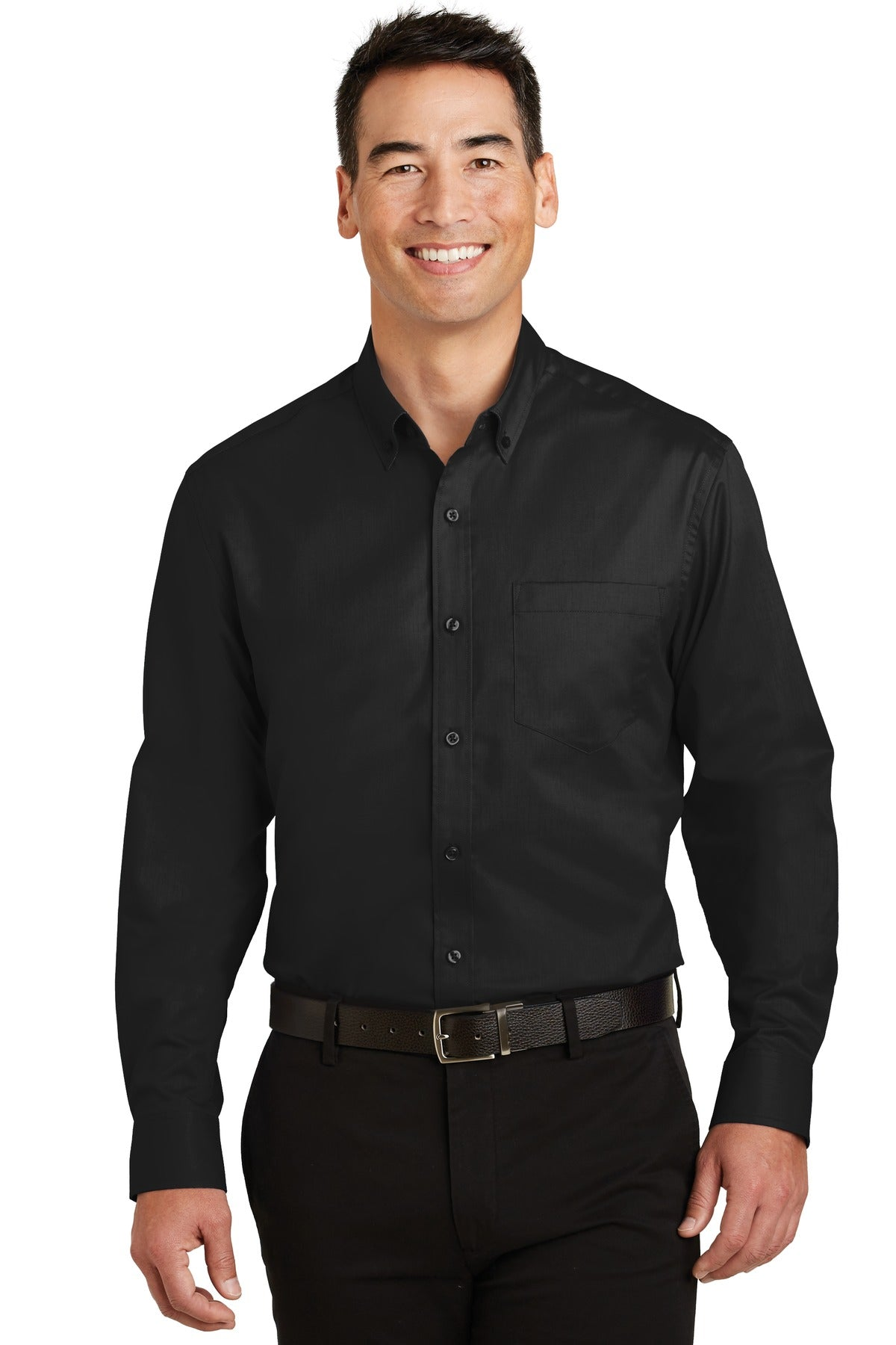 Burgundy Port Authority Tall Silk Touch Polo with Pocket.