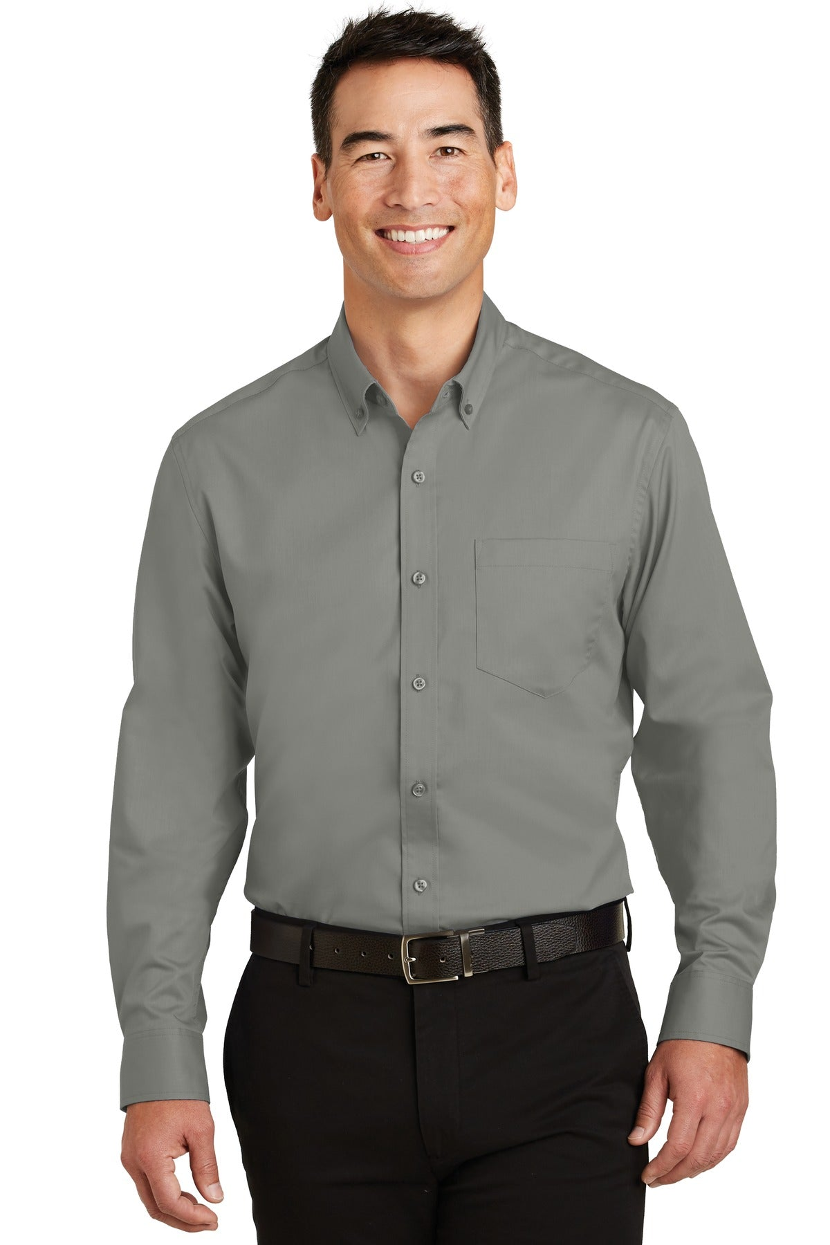 Cool Grey Port Authority Tall Silk Touch Polo with Pocket.