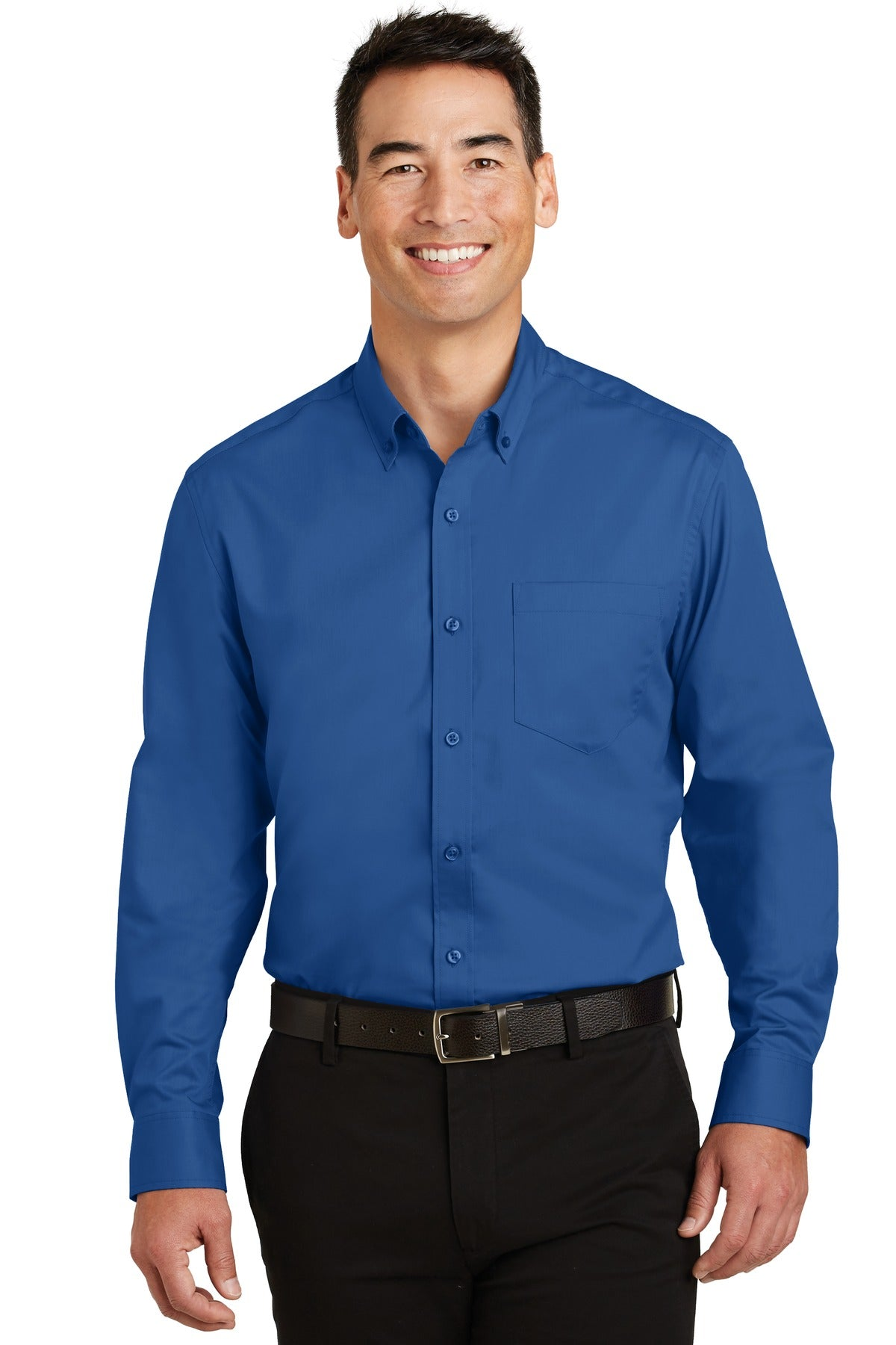 Ultramarine Blue Port Authority Tall Silk Touch Polo with Pocket.