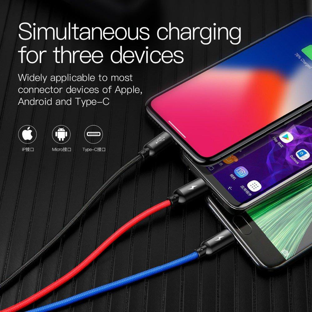 Baseus 3 in 1 USB Cable for Mobile Phone Micro USB Type C Charger Optimumtrends