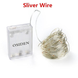 OSIDEN 2M 5M 10M 100 Led Strings Copper Wire 3XAA Battery Operated Christmas Wedding Party Decoration LED String Fairy Lights Optimumtrends Sliver Wire 2Meter 20Led White