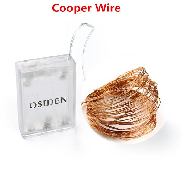OSIDEN 2M 5M 10M 100 Led Strings Copper Wire 3XAA Battery Operated Christmas Wedding Party Decoration LED String Fairy Lights Optimumtrends Cooper Wire 2Meter 20Led White