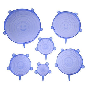 6pcs Silicone Stretch Lid Cover Optimumtrends 6pcs Blue 1