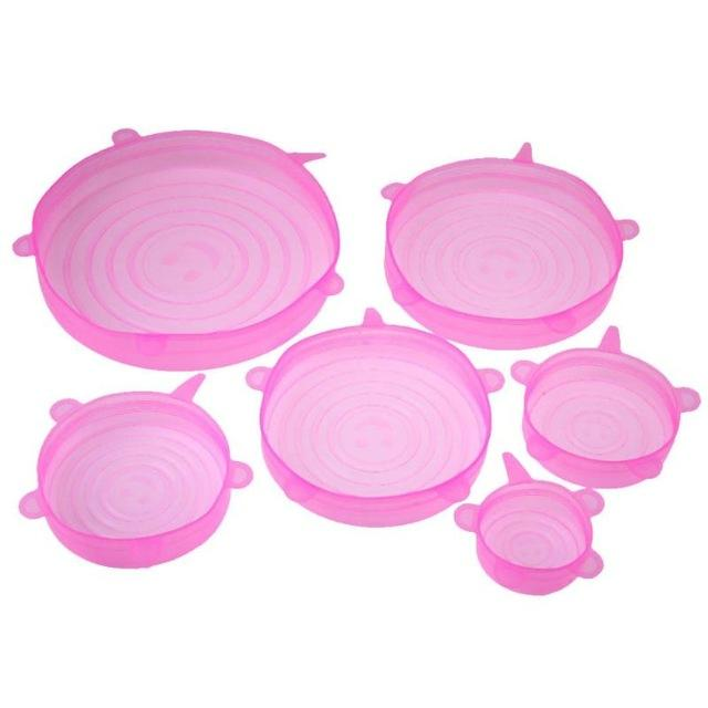 6pcs Silicone Stretch Lid Cover Optimumtrends Pink
