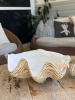 50cm Faux - giant clam.  Sun bleached base with natural matte interior