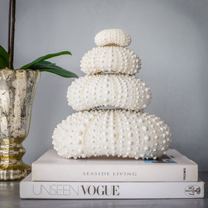 Faux Stacked Sea Urchin sculpture - White
