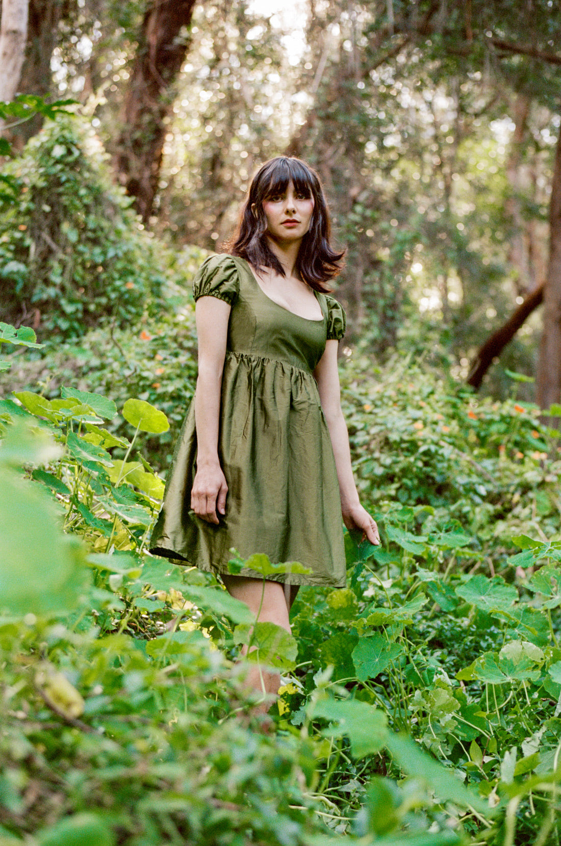 Olive Empire Dress