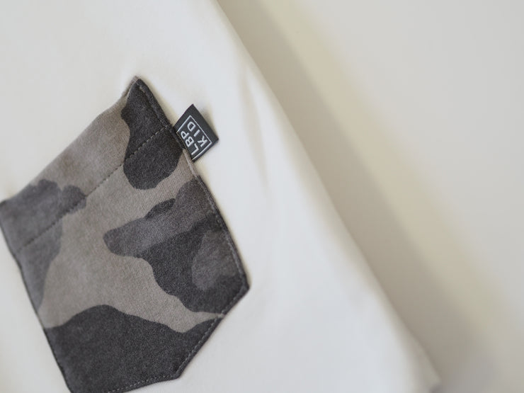 White Long Sleeve Top Camo Pocket
