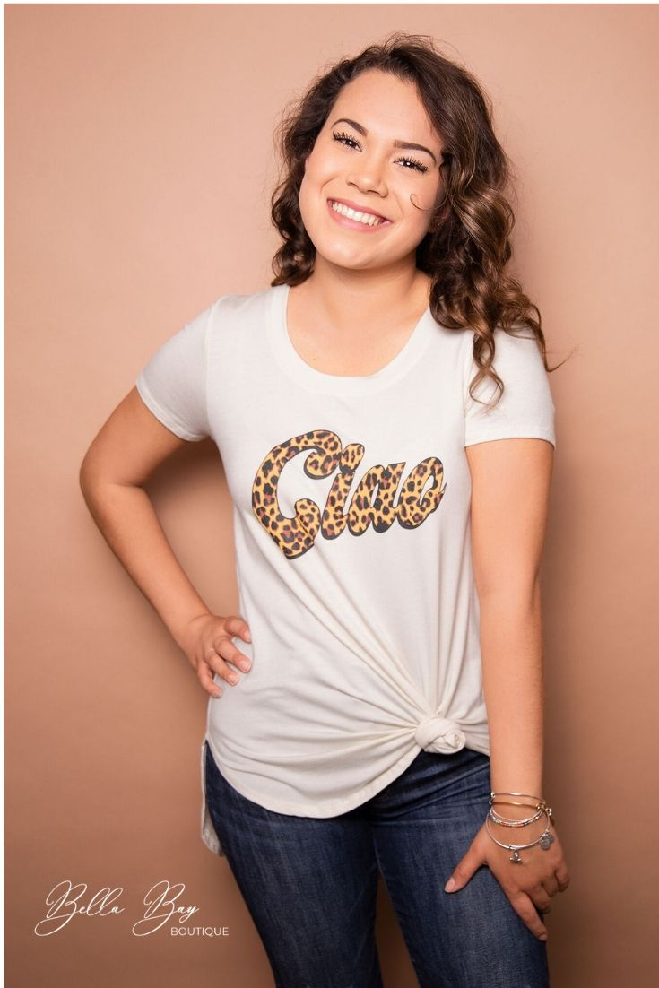 Paisley Raye Graphic Tee- Ciao (0X) - Paisley Raye with Bella Bay Boutique, shop now at  https://shopbellabay.com/ or locally in Newport Oregon