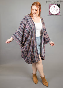 Paisley Raye Amethyst Kimono- Purple Stripe Vintage (L/XL) - Paisley Raye with Bella Bay Boutique, shop now at  https://shopbellabay.com/ or locally in Newport Oregon
