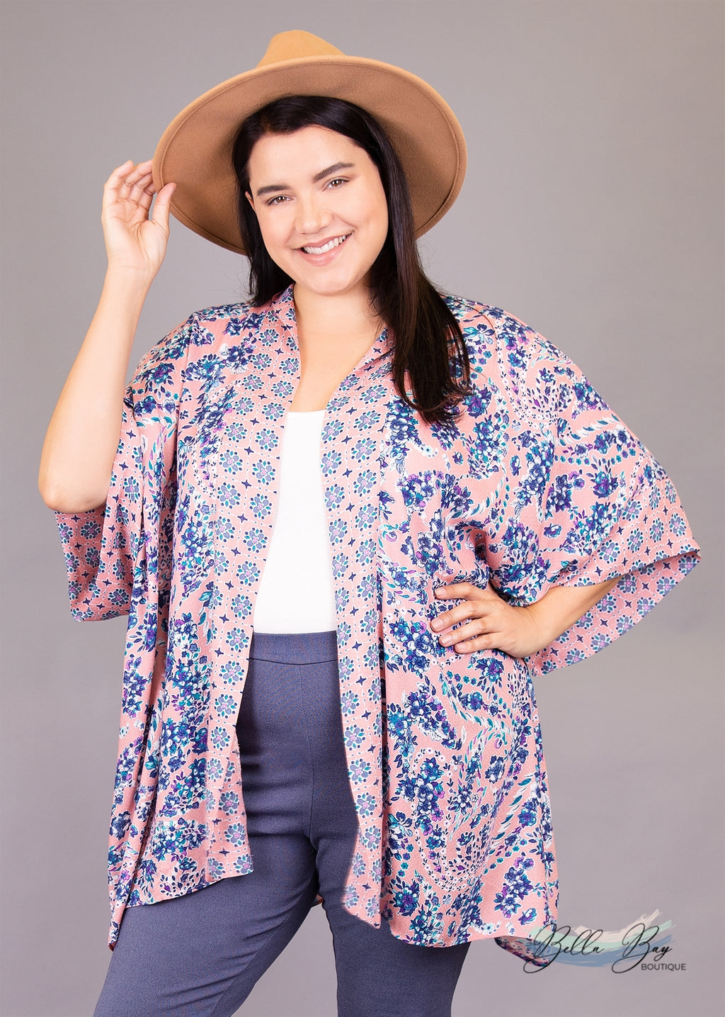 Paisley Raye Amethyst Kimono- Pink Vintage (L/XL) - Paisley Raye with Bella Bay Boutique, shop now at  https://shopbellabay.com/ or locally in Newport Oregon