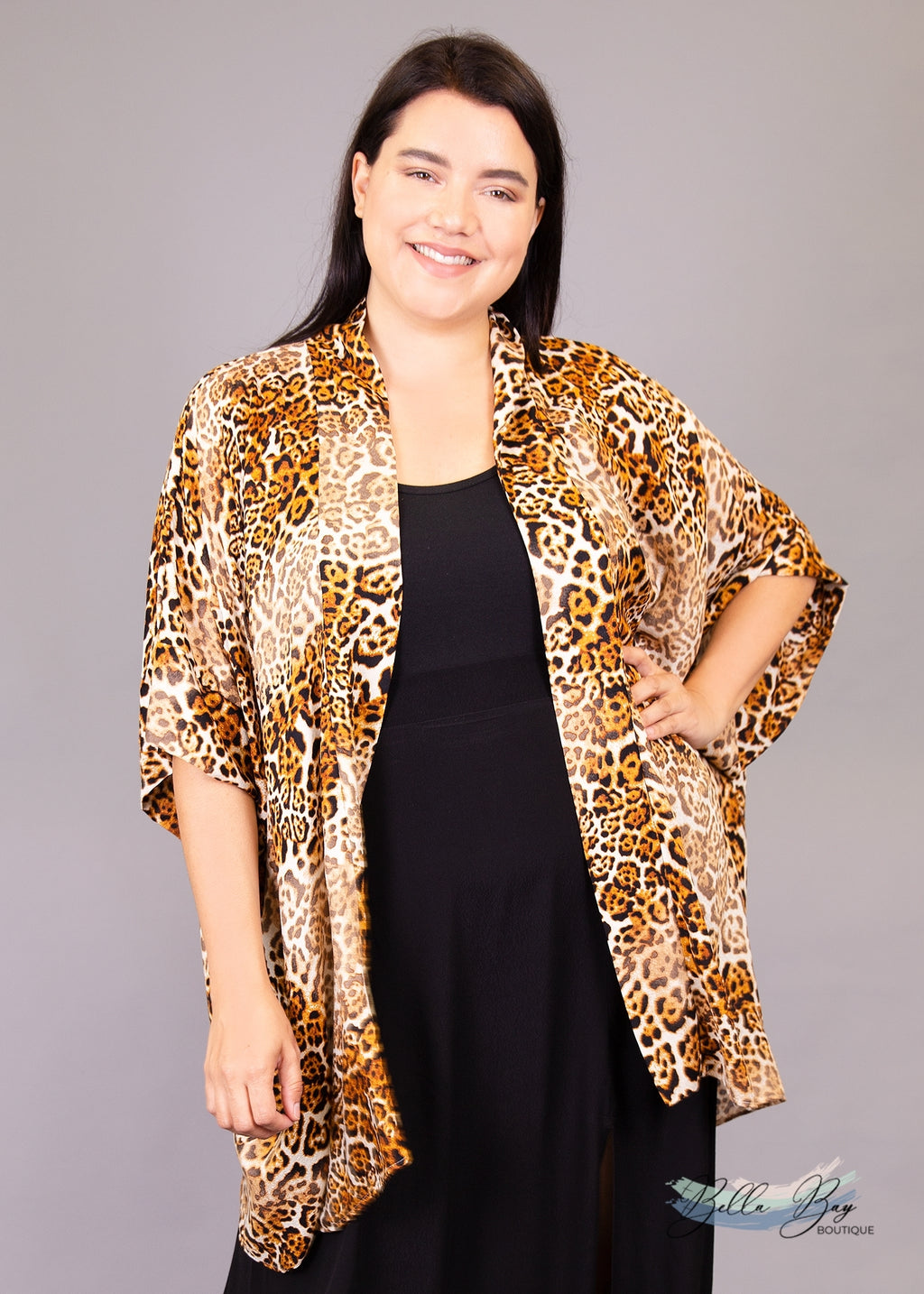 Paisley Raye Amethyst Kimono- Cheetah Print (2X/3X) - Paisley Raye with Bella Bay Boutique, shop now at  https://shopbellabay.com/ or locally in Newport Oregon