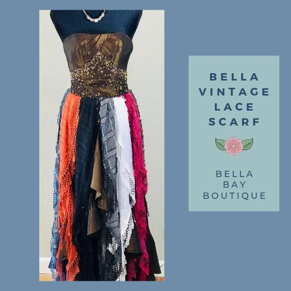 Paisley Raye Bella Vintage Lace Scarf - Paisley Raye with Bella Bay Boutique, shop now at  https://shopbellabay.com/ or locally in Newport Oregon
