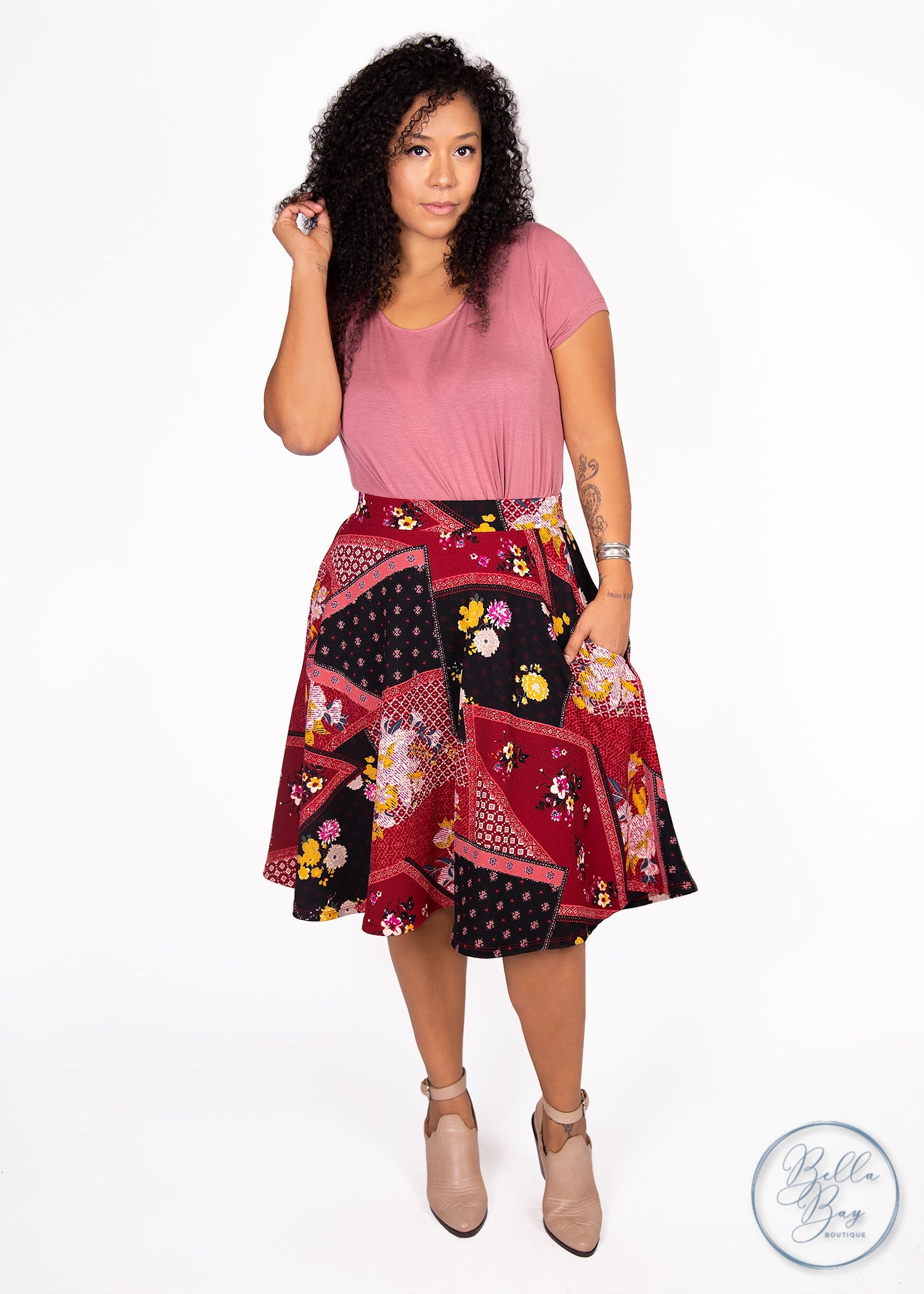 Paisley Raye Bloom Skirt- Patchwork (2X) - Paisley Raye with Bella Bay Boutique, shop now at  https://shopbellabay.com/ or locally in Newport Oregon