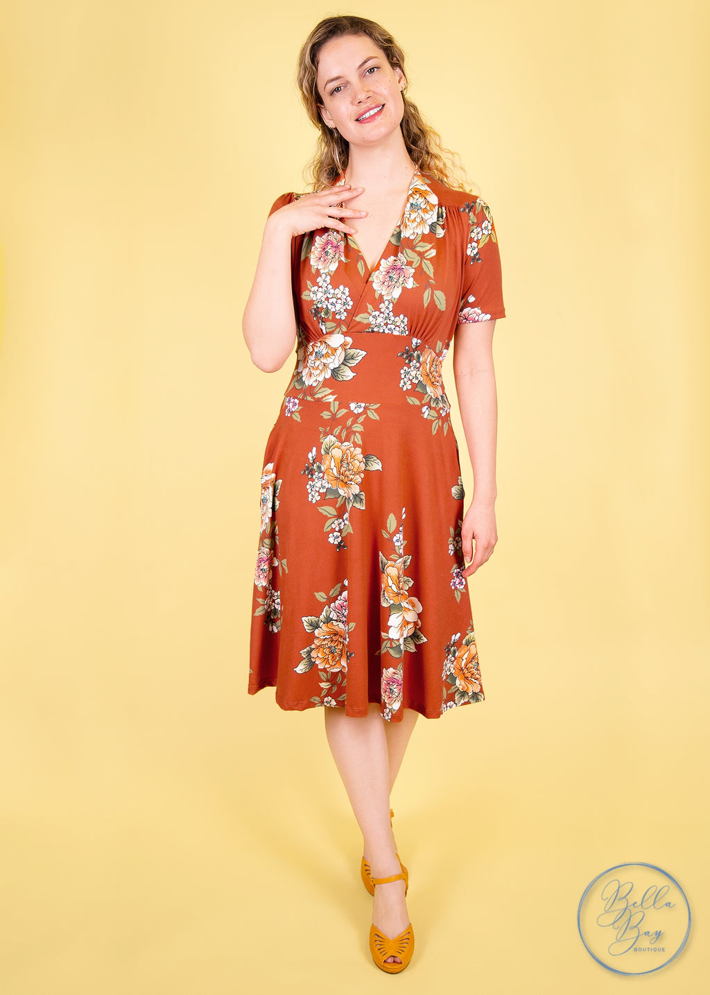 Paisley Raye Dahlia Dress- Rust Floral (XL) - Paisley Raye with Bella Bay Boutique, shop now at  https://shopbellabay.com/ or locally in Newport Oregon