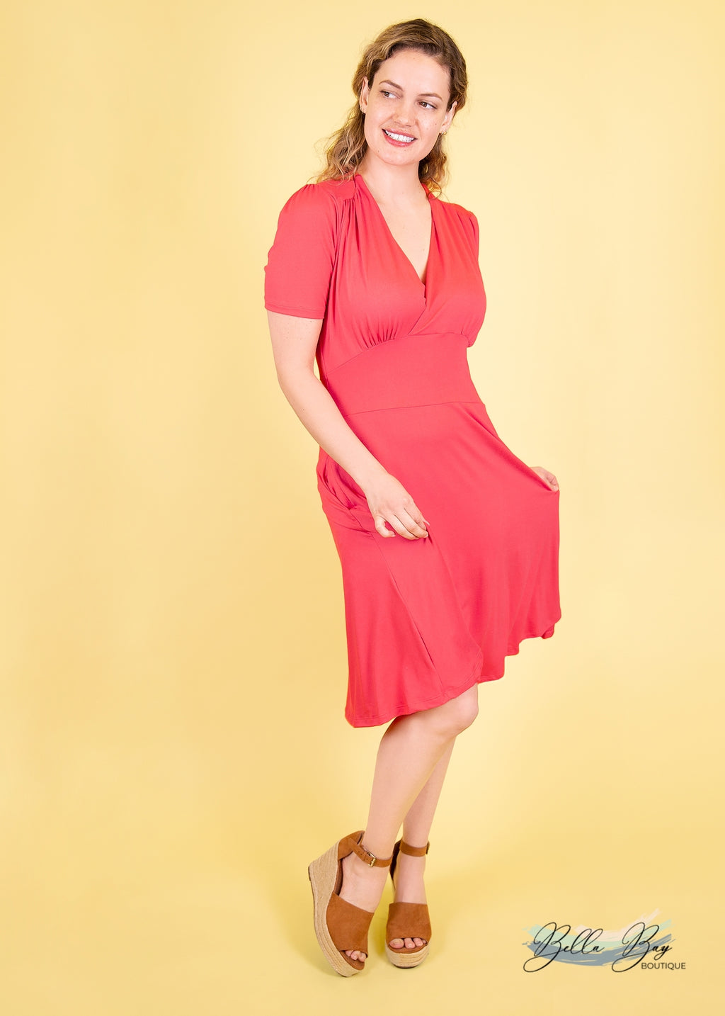 Paisley Raye Dahlia Dress- Coral (S) - Paisley Raye with Bella Bay Boutique, shop now at  https://shopbellabay.com/ or locally in Newport Oregon