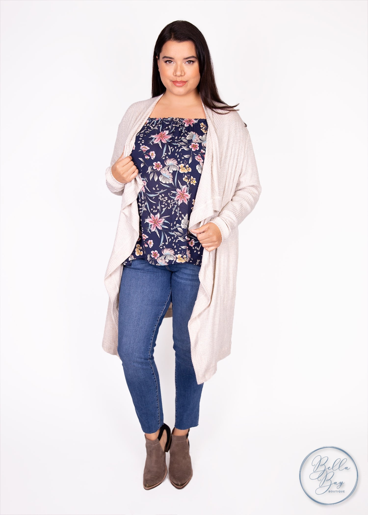 Paisley Raye Dusty Miller Cardigan - Oatmeal Waffle Knit (0X) - Paisley Raye with Bella Bay Boutique, shop now at  https://shopbellabay.com/ or locally in Newport Oregon