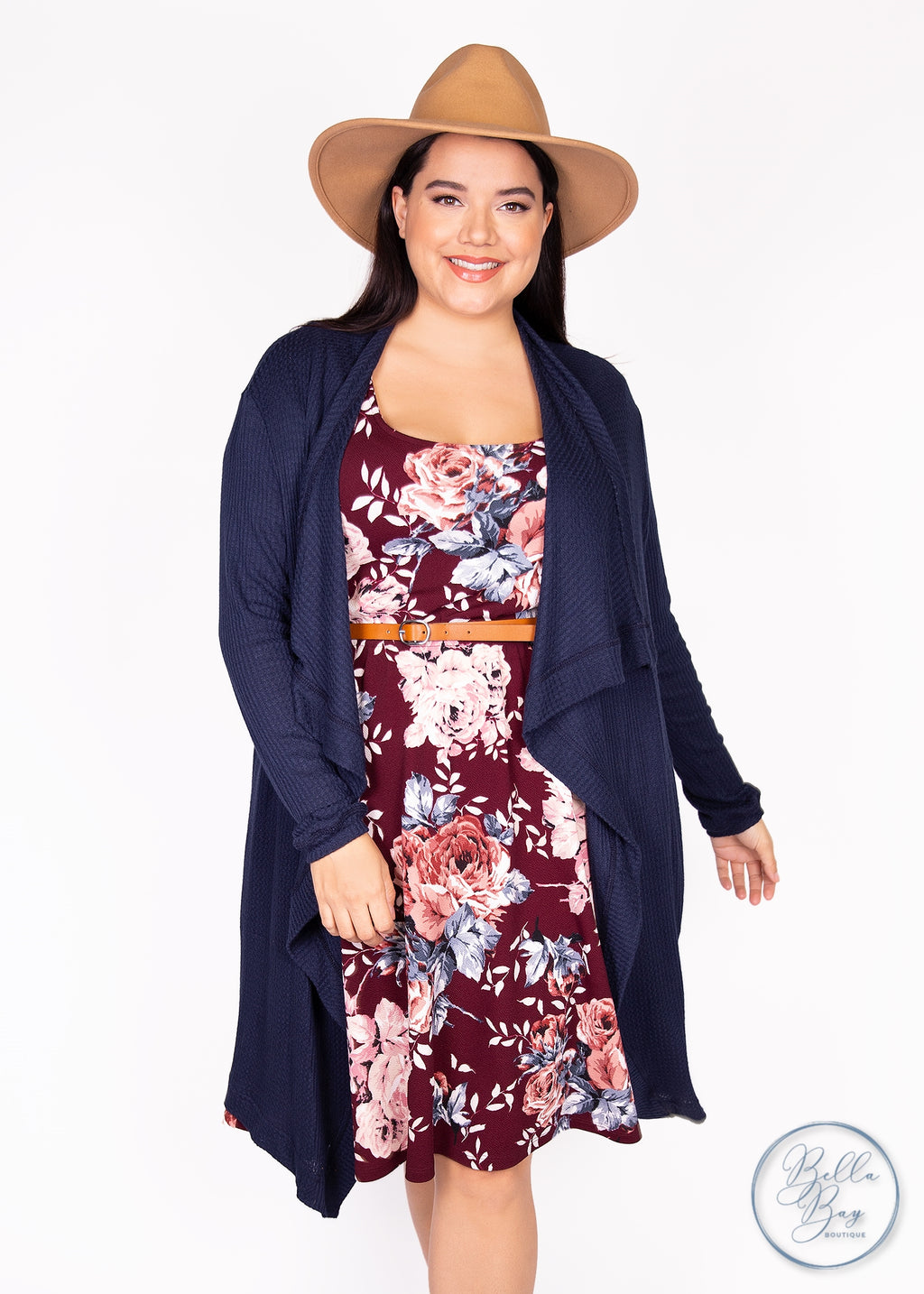 Paisley Raye Dusty Miller Cardigan- Navy Waffle Knit (XL) - Paisley Raye with Bella Bay Boutique, shop now at  https://shopbellabay.com/ or locally in Newport Oregon