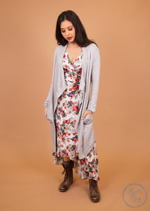 Paisley Raye Dusty Miller Cardigan- Light Grey Waffle Knit (L) - Paisley Raye with Bella Bay Boutique, shop now at  https://shopbellabay.com/ or locally in Newport Oregon