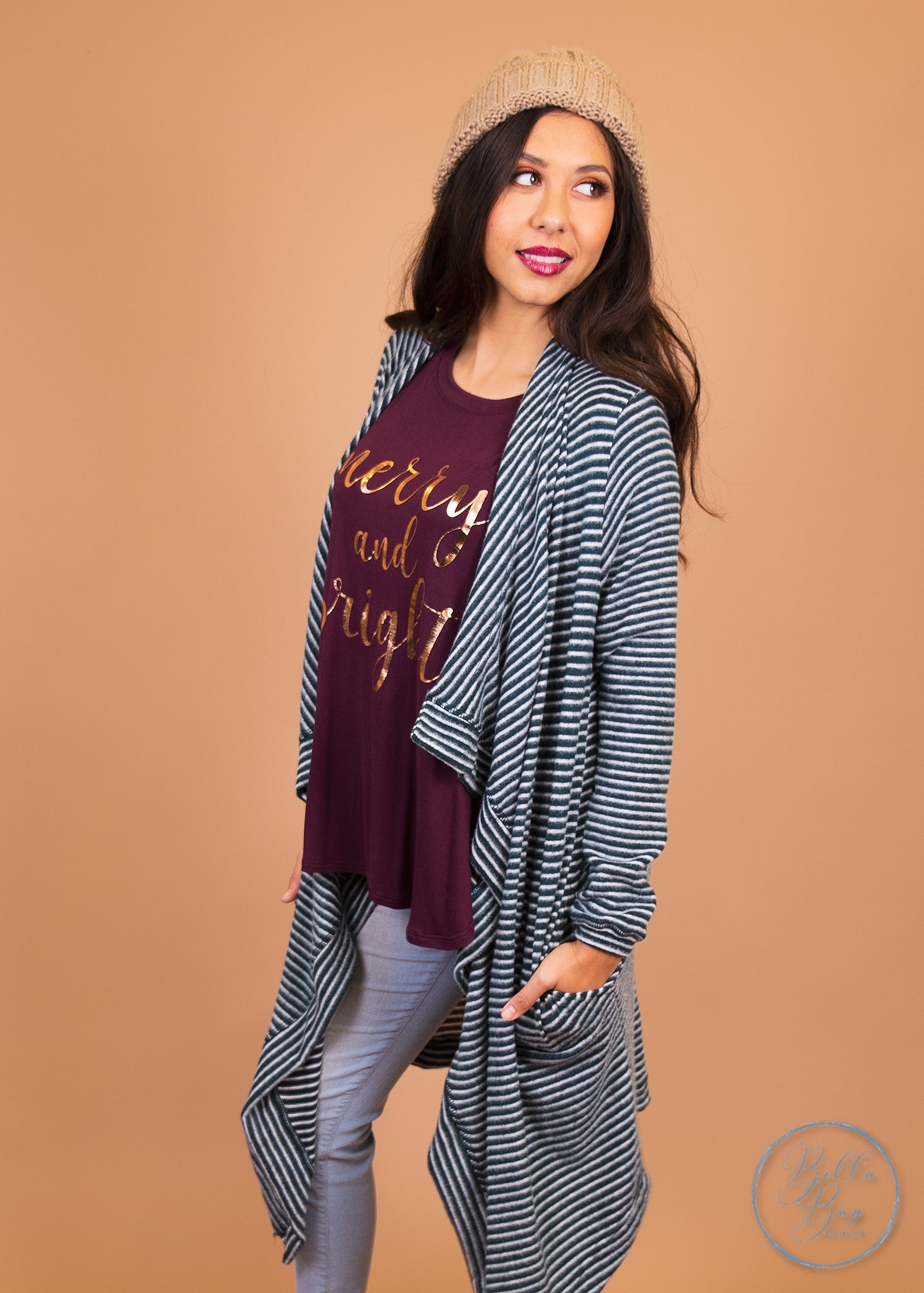 Paisley Raye Dusty Miller Cardigan- Teal and White Stripes (2X) - Paisley Raye with Bella Bay Boutique, shop now at  https://shopbellabay.com/ or locally in Newport Oregon