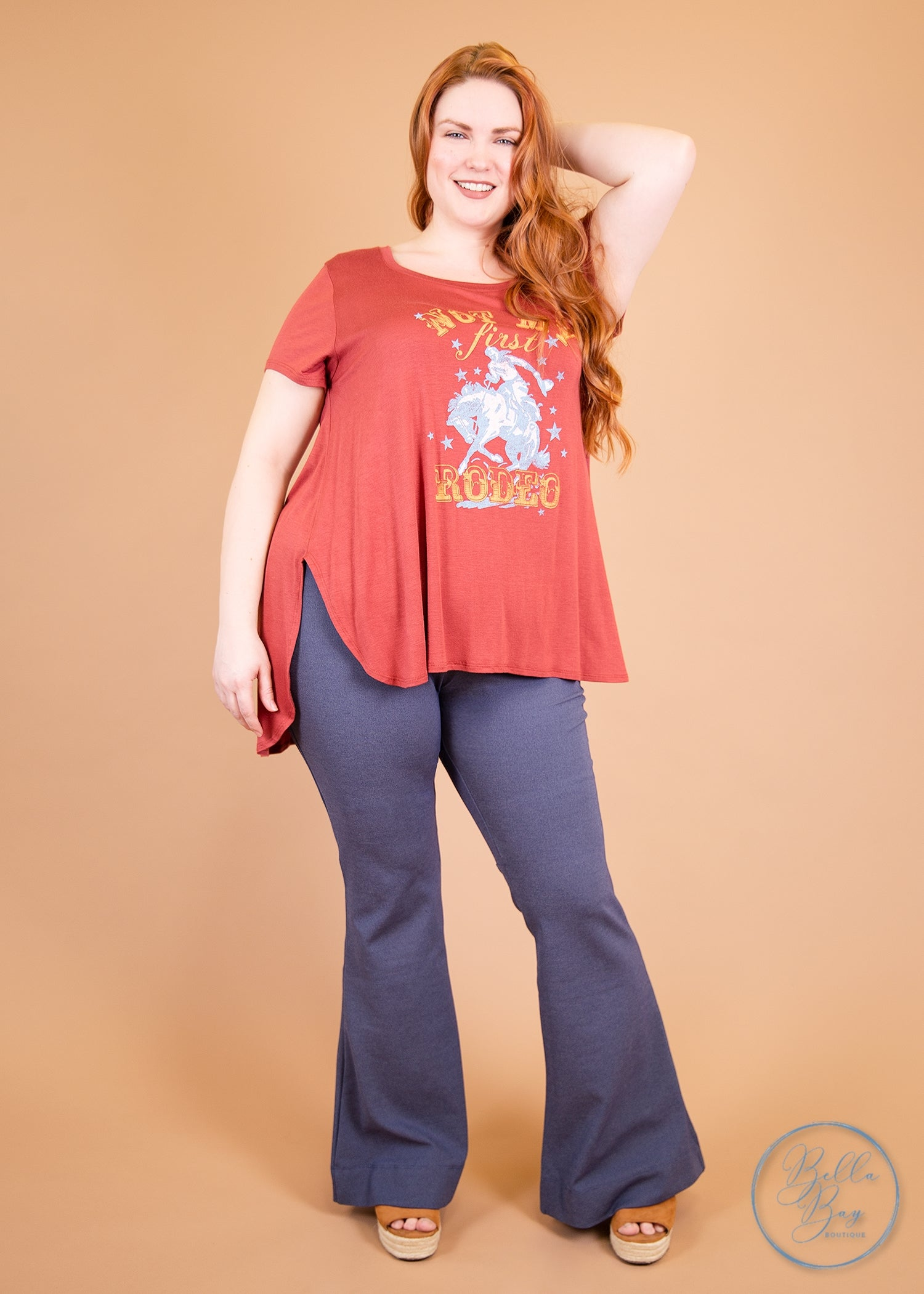 Paisley Raye Ginger Kick Flare Pants- Steele Blue (0X) - Paisley Raye with Bella Bay Boutique, shop now at  https://shopbellabay.com/ or locally in Newport Oregon