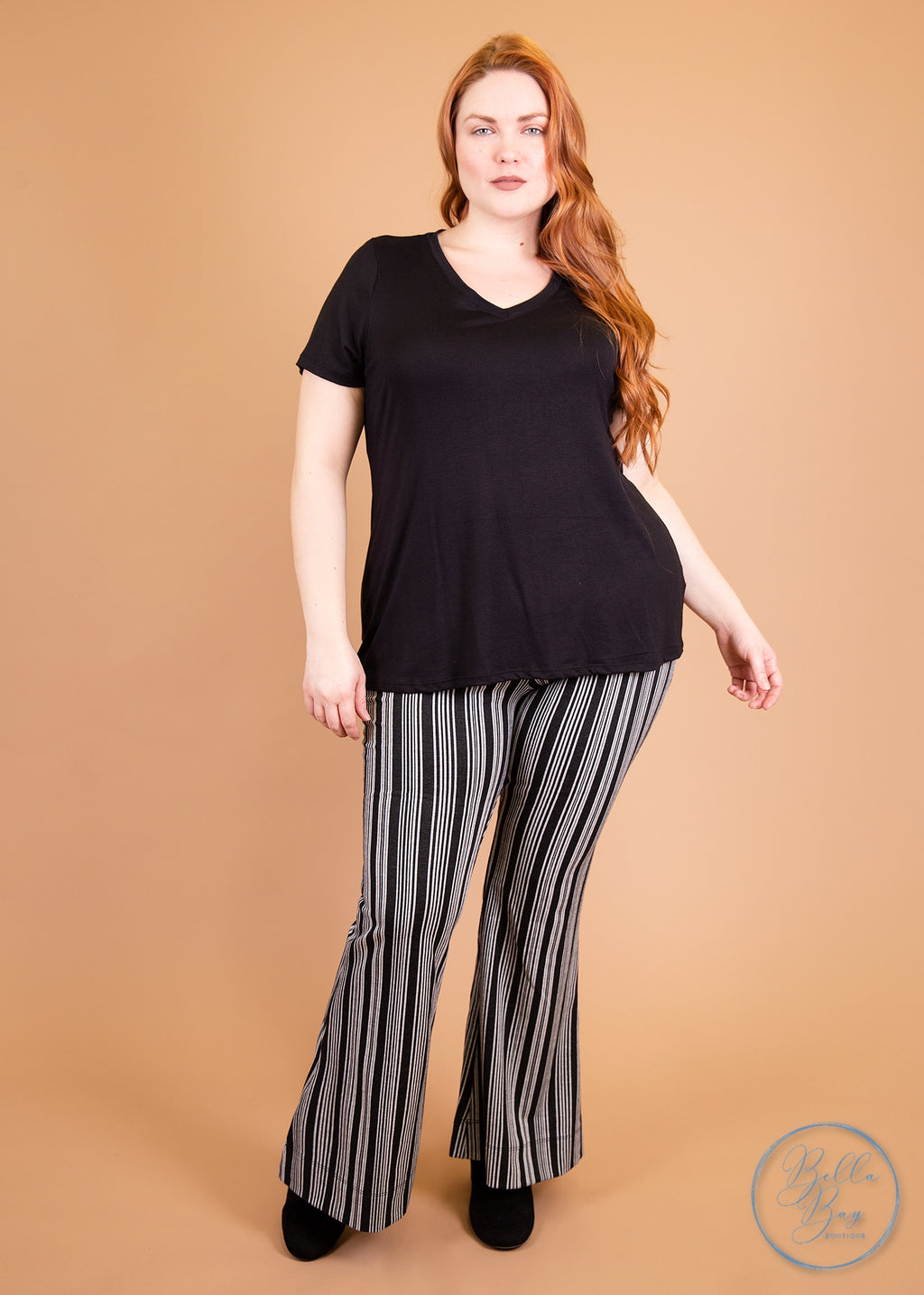 Paisley Raye Ginger Kick Flare Pants- Black and White Stripe (3X) - Paisley Raye with Bella Bay Boutique, shop now at  https://shopbellabay.com/ or locally in Newport Oregon