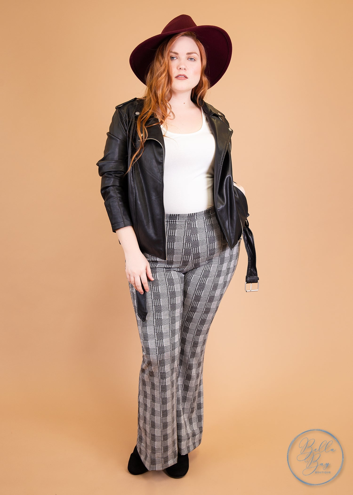 Paisley Raye Ginger Kick Flare Pants- Black and White Plaid (XL) - Paisley Raye with Bella Bay Boutique, shop now at  https://shopbellabay.com/ or locally in Newport Oregon
