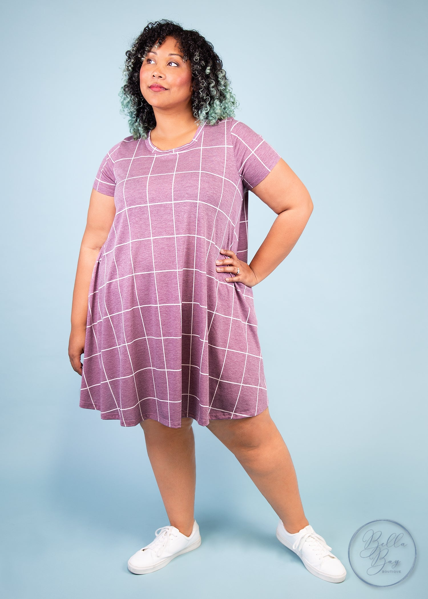 Paisley Raye Iris Swing Dress- Mauve and White Grid (XS) - Paisley Raye with Bella Bay Boutique, shop now at  https://shopbellabay.com/ or locally in Newport Oregon