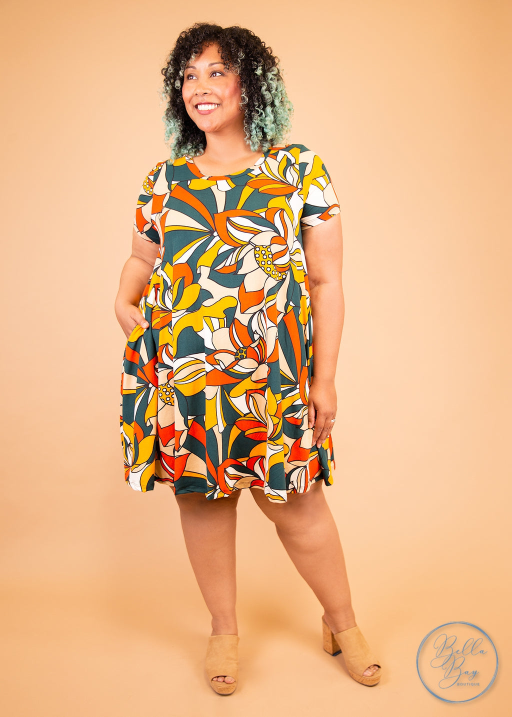Paisley Raye Iris Swing Dress- Disco Floral (S) - Paisley Raye with Bella Bay Boutique, shop now at  https://shopbellabay.com/ or locally in Newport Oregon