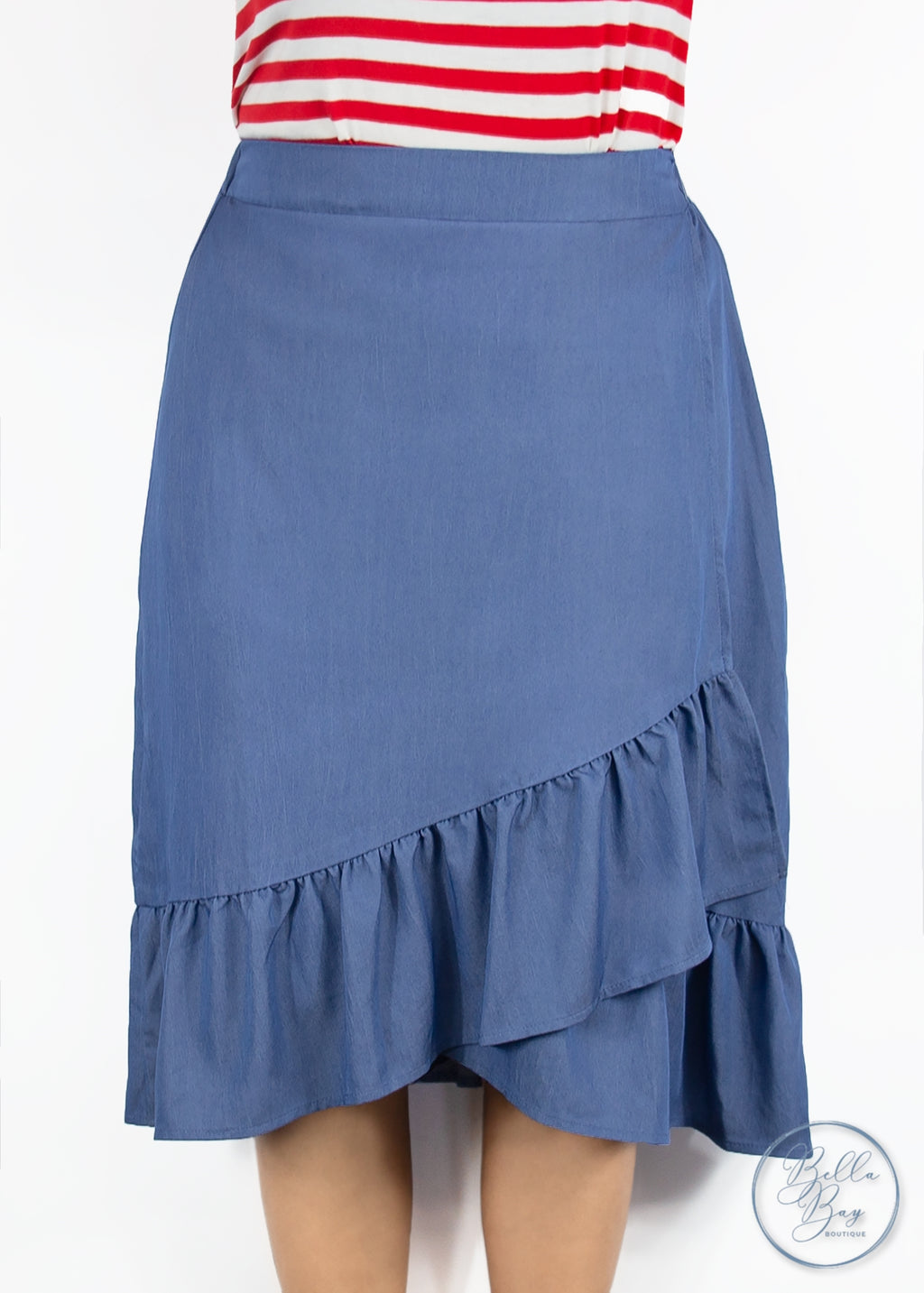 Paisley Raye Kerria Skirt- Denim (L) - Paisley Raye with Bella Bay Boutique, shop now at  https://shopbellabay.com/ or locally in Newport Oregon