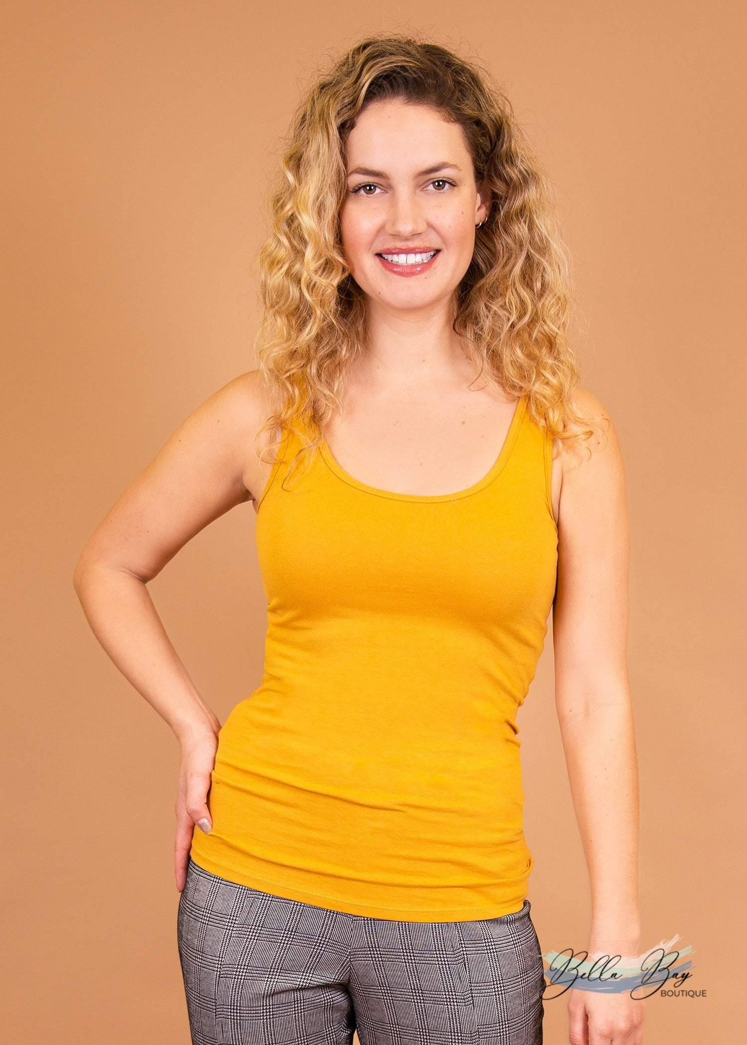 Paisley Raye Layering Tank Top- Mustard (3X) - Paisley Raye with Bella Bay Boutique, shop now at  https://shopbellabay.com/ or locally in Newport Oregon