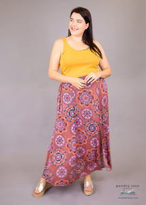 Paisley Raye Morning Glory Maxi Skirt- Dusty Rose Medallion (1X) - Paisley Raye with Bella Bay Boutique, shop now at  https://shopbellabay.com/ or locally in Newport Oregon