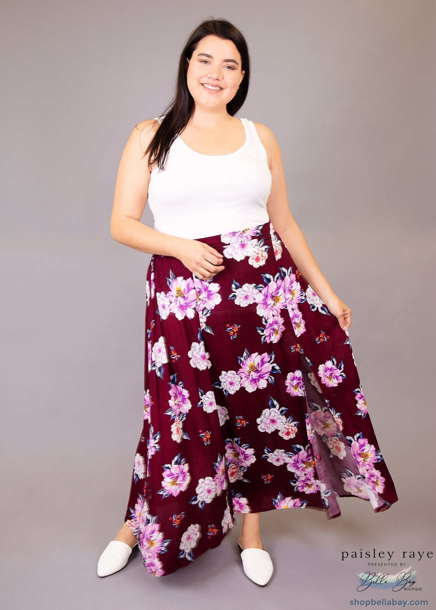 Paisley Raye Morning Glory Maxi Skirt- Burgundy with Floral (1X) - Paisley Raye with Bella Bay Boutique, shop now at  https://shopbellabay.com/ or locally in Newport Oregon