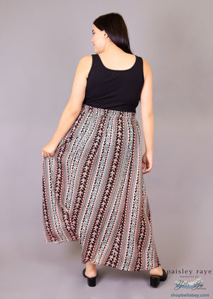 Paisley Raye Morning Glory Maxi Skirt- BOHO Stripes (XL) - Paisley Raye with Bella Bay Boutique, shop now at  https://shopbellabay.com/ or locally in Newport Oregon