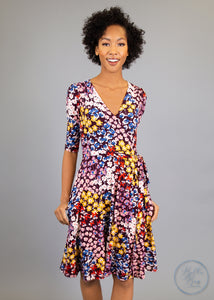 Paisley Raye Petunia Wrap Dress- Purple Floral (0X) - Paisley Raye with Bella Bay Boutique, shop now at  https://shopbellabay.com/ or locally in Newport Oregon