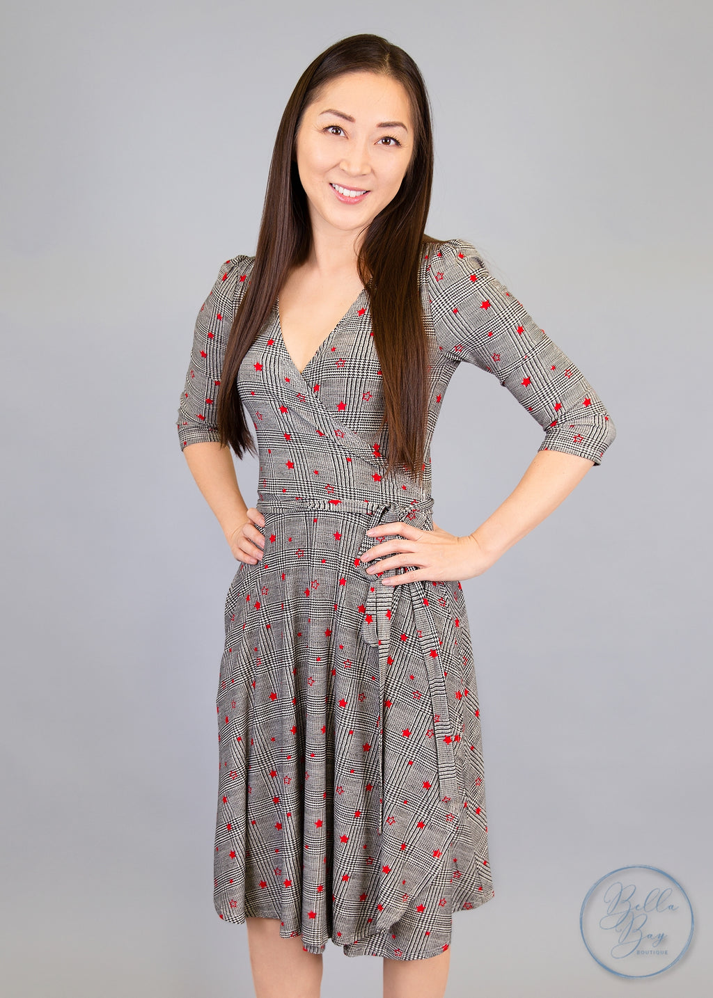Paisley Raye Petunia Wrap Dress- Black and Red Star (2X) - Paisley Raye with Bella Bay Boutique, shop now at  https://shopbellabay.com/ or locally in Newport Oregon