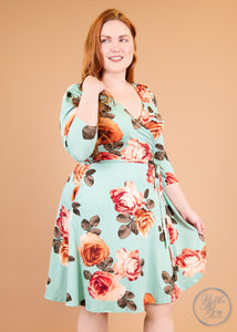 Paisley Raye Petunia Wrap Dress- Mint Rose (1X) - Paisley Raye with Bella Bay Boutique, shop now at  https://shopbellabay.com/ or locally in Newport Oregon