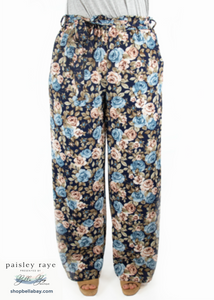 Paisley Raye Hydrangea Palazzo Pant- Navy Floral (3X) - Paisley Raye with Bella Bay Boutique, shop now at  https://shopbellabay.com/ or locally in Newport Oregon