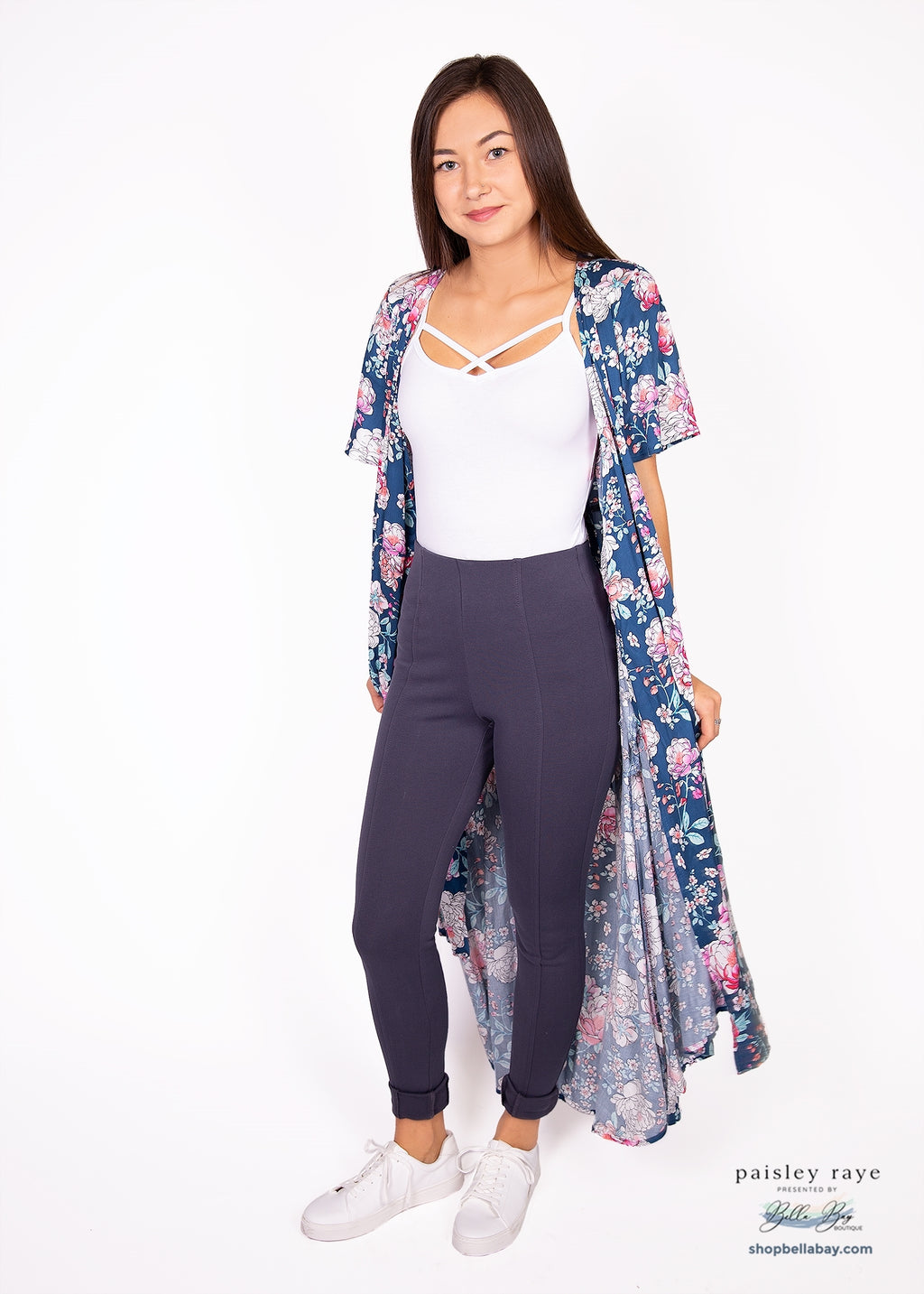 Paisley Raye Pixie Pant- Blue Grey (1X) - Paisley Raye with Bella Bay Boutique, shop now at  https://shopbellabay.com/ or locally in Newport Oregon