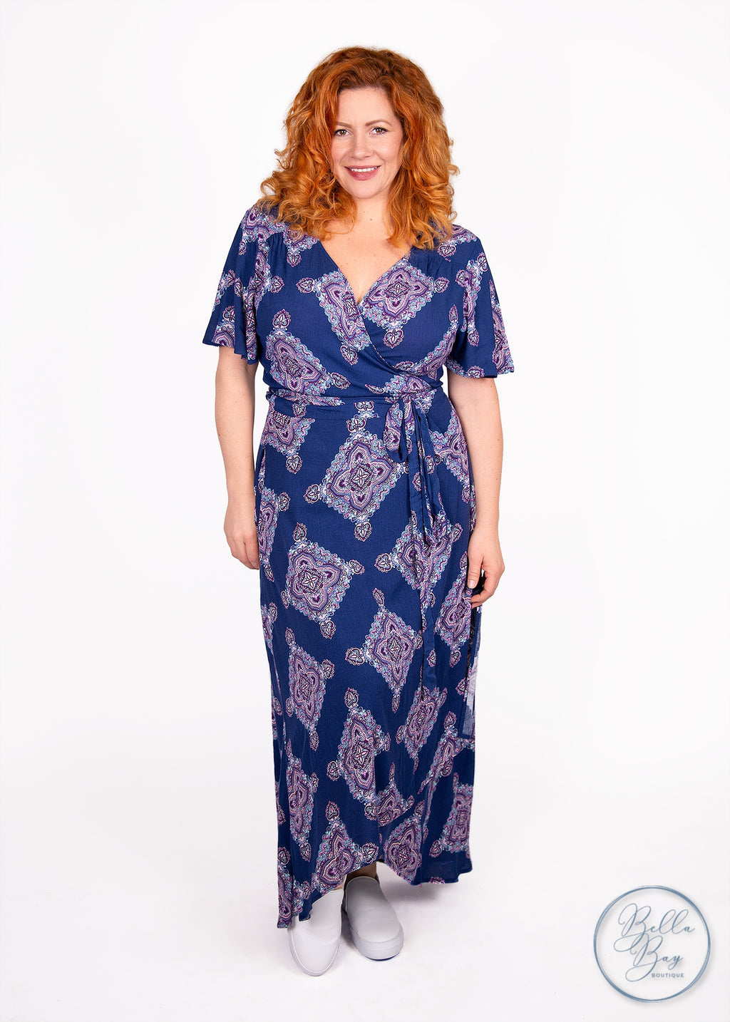 Paisley Raye Primrose Wrap Dress- Blue Medallion (2X) - Paisley Raye with Bella Bay Boutique, shop now at  https://shopbellabay.com/ or locally in Newport Oregon