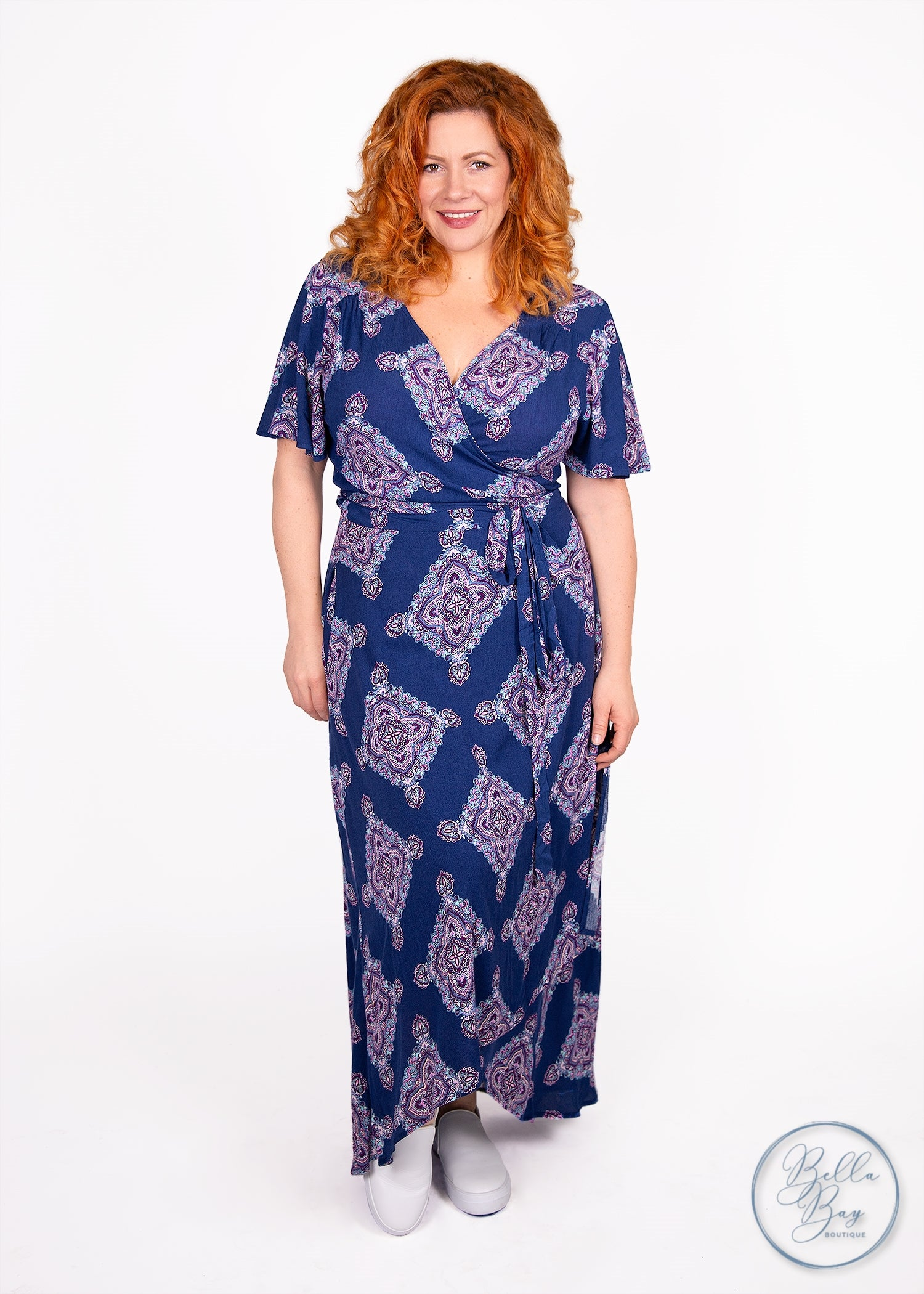 Paisley Raye Primrose Wrap Dress- Blue Medallion (XS) - Paisley Raye with Bella Bay Boutique, shop now at  https://shopbellabay.com/ or locally in Newport Oregon