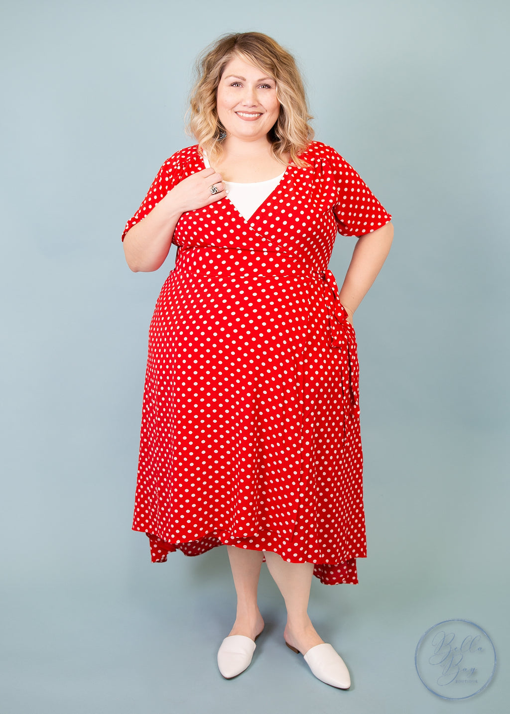 Paisley Raye Primrose Wrap Dress- Red and White Polka Dot (0X) - Paisley Raye with Bella Bay Boutique, shop now at  https://shopbellabay.com/ or locally in Newport Oregon