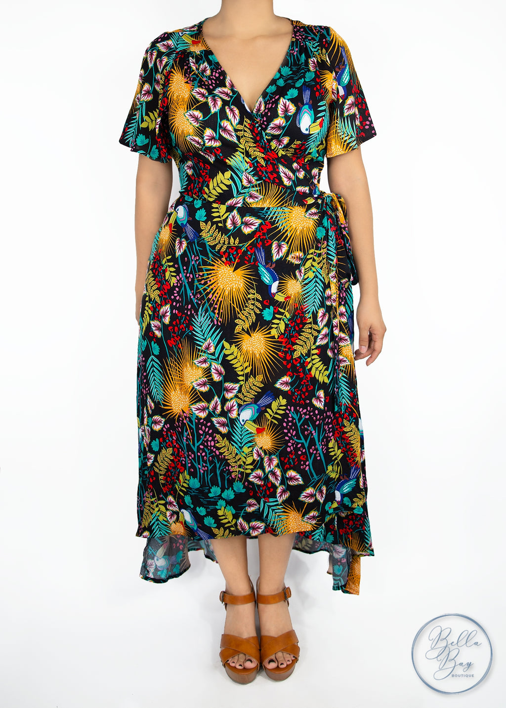 Paisley Raye Primrose Wrap Dress - Tropical (1X) - Paisley Raye with Bella Bay Boutique, shop now at  https://shopbellabay.com/ or locally in Newport Oregon