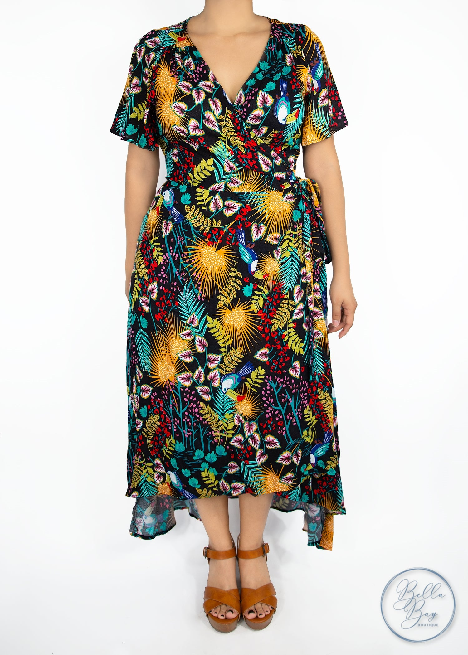 Paisley Raye Primrose Wrap Dress - Tropical (XS) - Paisley Raye with Bella Bay Boutique, shop now at  https://shopbellabay.com/ or locally in Newport Oregon