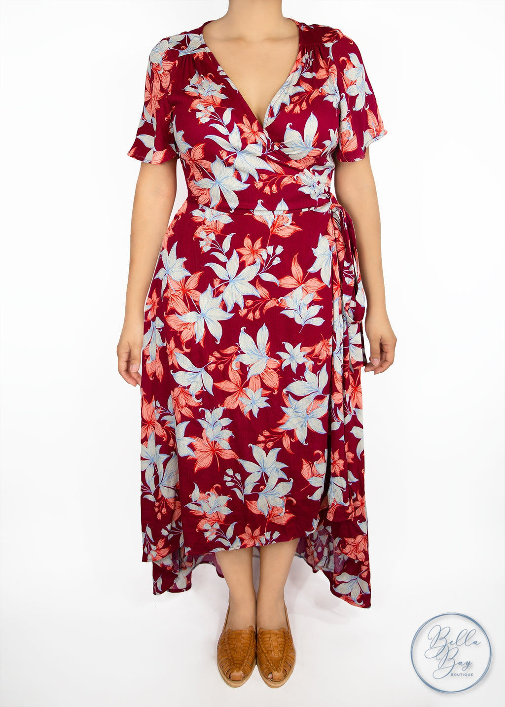 Paisley Raye Primrose Wrap Dress- Burgundy Floral (1X) - Paisley Raye with Bella Bay Boutique, shop now at  https://shopbellabay.com/ or locally in Newport Oregon