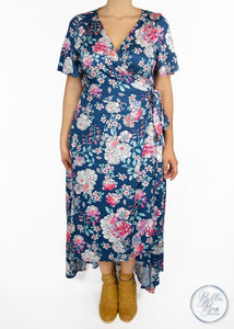 Paisley Raye Primrose Wrap Dress- Blue Floral (M) - Paisley Raye with Bella Bay Boutique, shop now at  https://shopbellabay.com/ or locally in Newport Oregon