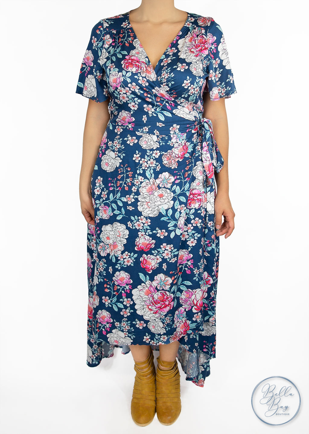 Paisley Raye Primrose Wrap Dress- Blue Floral (1X) - Paisley Raye with Bella Bay Boutique, shop now at  https://shopbellabay.com/ or locally in Newport Oregon